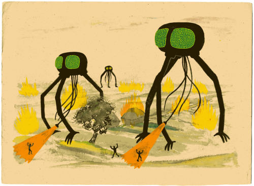 War of the Worlds. More work from 2008. Gouache on an old found watercolour painting.