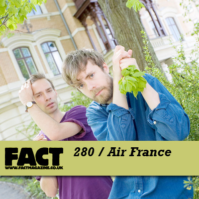 "FACT mix 280 takes the form of a rare session from elusive Swedish duo Air France. Rare, in fact, is an understatement when it comes to these two: transmissions from Joel Karlsson and Henrik Markstedt have been notably thin on the ground since their 2006 debut, On Trade Winds. The pair have only released two physical records to date, following said debut EP with 2008′s six-track No Way Down (both were originally released through Swedish label Sincerely Yours, but later were packaged together and reissued by Rough Trade). Sample-based records that lingered like the faded afterthoughts of Balearic summers, they represent two of the most distinctive EPs of the last decade, predicting the waves of chillwave and hypnagogic pop music that would follow them while never being bettered. Since then, there's been two digital singles, 2009′s 'GBG Belongs to Us' and 'It Feels Good to Be Around You', a stunning drum machine-driven ballad released last month. Air France's debut album, beyond long-awaited at this point, is roughly scheduled for a release this year, but whether it'll actually materalise or not is anybody's guess. That's half the fun with these guys. What we do know is that we've persuaded them to contribute a mix to our series. In the words of the group, ""it's September soon, and it may be audiable in the mix. It's a beautiful month, but also a month of changes, both good and bad, you know?"". Clams Casino, Holy Other and at least one unheard Air France track feature in a mix that picks out the perfect middle ground between dance music and pop.    Direct download: FACT mix 280 – Air France(Available for three weeks) Tracklist:Air France – It Feelz Good 2 B Around U (Jasement Baxx Remix)Tiny & Breezy – Two Pints Of Lager And A Packet Of Crisps PleaseClams Casino – I'm GodMusiq Soulchild – So Beautiful (Lapalux's Bootleg Remix)Disclosure – Blue YouTeam EZY – Get Me HighApollo Brown – Never In A Million YearsBruises – Night CartridgeHoly Other – Touch (Blood Diamonds Remix)Shlohmo – Just UsPandr Eyez – Little BitRedondo Beach – He Would Make Her Like Winter"