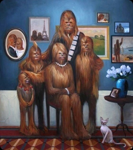 Wookie Family Portrait. C'mon, you can't not smile.  mondaynonsense