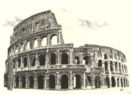 eatsleepdraw:  Colosseum Illustration created with the Cross Hatching technique using pen and ink. Click to see a time lapse creation of this illustration. Created by Alasdair from Dark Design Graphics.