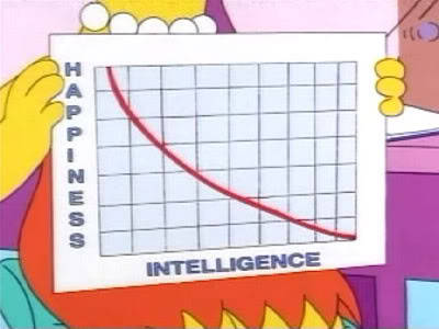 """As intelligence goes up, happiness often goes down. In fact, I made a graph. I make a lot of graphs."" This one's for you, I Love Charts (submitted by magiagranadina)"