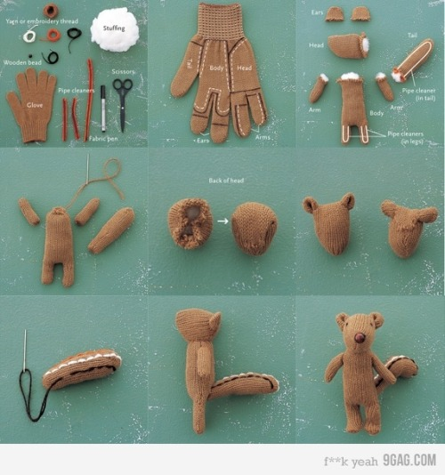 how to make a little squirrel out of a glove. <3 via jgrafx:  Das versteh ja sogar ich!