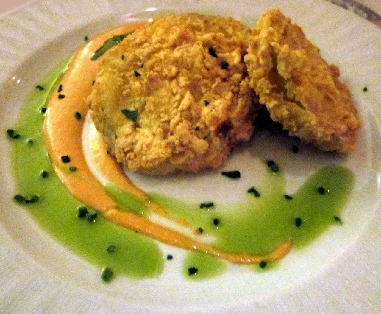 Fried Green Tomatoes with Smoked Tomato Aioli at DC Coast in Washington, DC After walking off my amazing three-course lunch from Zola and resuming my residency in Dupont Circle for much of the afternoon, I went back to my brother's apartment to hang out before getting ready for dinner. A few episodes of The Wire and twice as many beers later, we were ready to go. Of course, it was Restaurant Week, so we were going to go crazy with another three-course meal (here's their RW menu). The goal, in general, is to get the most expensive things, and get as much for your money as possible. But having just had a seafood and corn soup earlier, I went with the tomatoes for my appetizer. Normally relegated to bar food, DC transformed this (mainly) Southern specialty into a restaurant quality appetizer. Anything fried is going to be delicious, but these tomatillos held their tartness, and went real well with the smoky roasted tomato aioli. It was a great start; but the place is called DC Coast, which means I was definitely ordering seafood, and they did not disappoint.