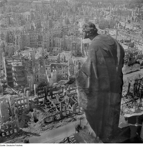 The aftermath from the firebombing of Dresden. After three days of bombing, 15 square miles of the city were destroyed - taking along with it many medieval landmarks and thousands of lives. Less than three months later Germany would surrender and end the war in Europe.