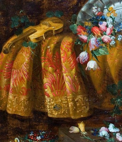 Antonio Gianlisi Flowers and Violin on a Table, detail Late 17th - early 18th century
