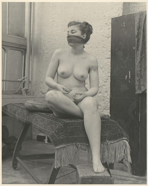 { Unknown Artist, American - [Nude Female Model with Scarf Over Mouth], 1950s }