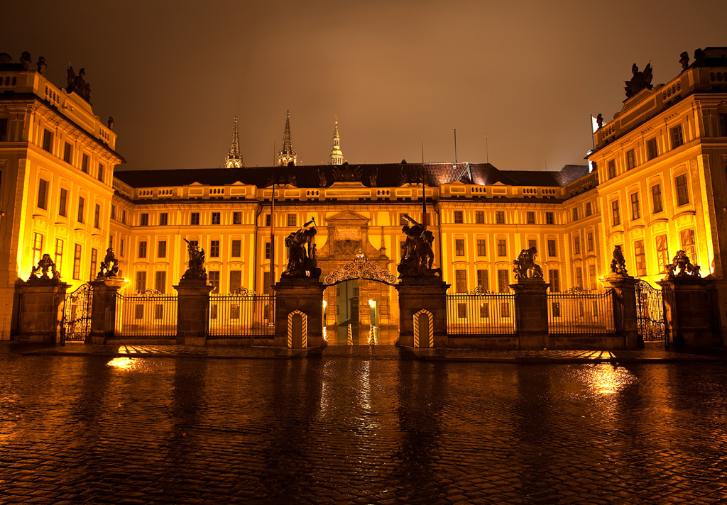 Prague castle, Czech Republic on a rainy night. Beautiful :D