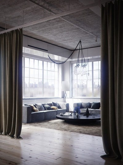 acoustic-garden:  Loft à New York - Living room…