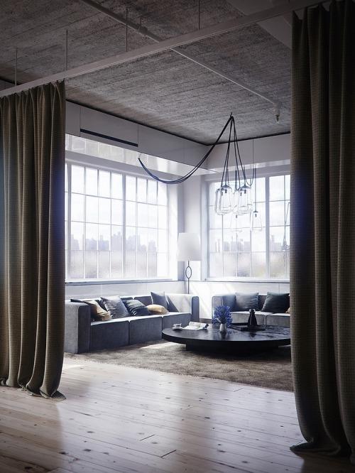 Loft à New York - Living room…
