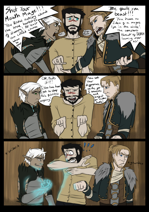 animated-thought-bubble:  Brofist!: Fenris vs Anders! Argh I'm so behind on making these, anyways here's ol' Fenris and Anders verbally battling it out with poor Mr Hawke trapped in the middle once again (wahwahwaaaah) Got the idea from this one by a comment someone said on my Deviant art, inspiration!