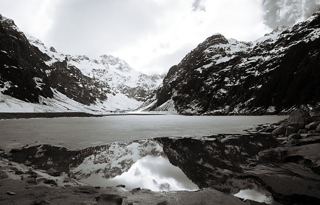 Week 35: A winter afternoon at Lake Marian in the Hollyford Divide.