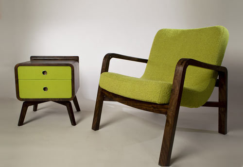 Curve a linear easy chair and side table by David Rasmussen.
