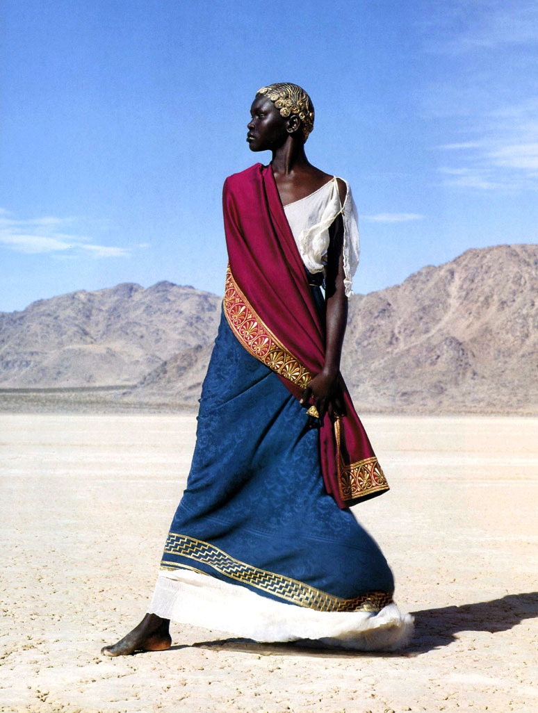 alek wek by herb ritts for vogue paris, 4/99