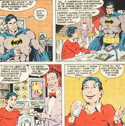 discowing:  He's just so excited!  (Batman's mug says #1 superhero. I'm really curious to know who got it for him.) [Batman 413]