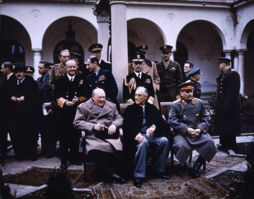 "The ""Big Three"": Winston Churchill, Franklin Roosevelt and Joseph Stalin at the Yalta Conference in February of 1945 to discuss how to deal with Europe Post-WWII. During the conference a rather frail looking Roosevelt gave into many of Stalin's demands given, leading to further conflicts in years to come during the Cold War. Two months later FDR would pass away."