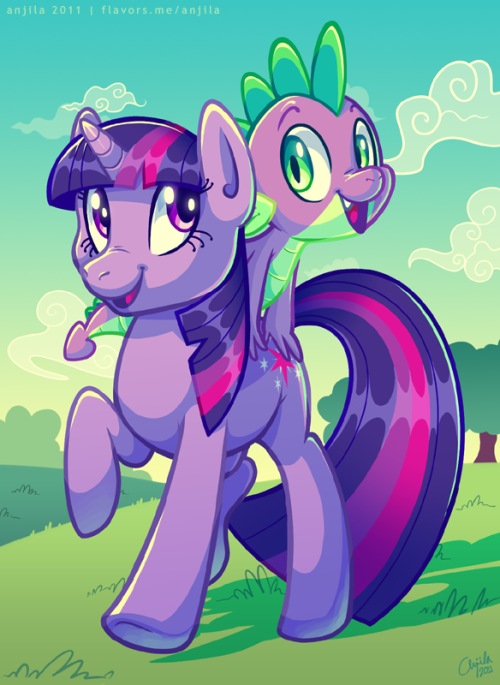 medacris:  cindork:  anjila:  Generic Twilight and Spike pic  Delicious colours!~  The color and faces! <3 Amazing work.