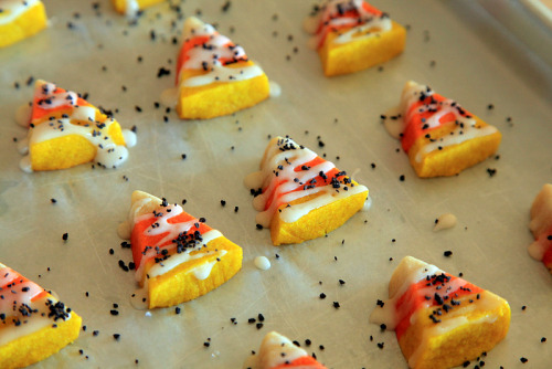 bakeddd:  candy corn sugar cookies click here for recipe