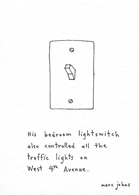 His bedroom lightswitch also controlled all the traffic lights by Marc Johns on Flickr.
