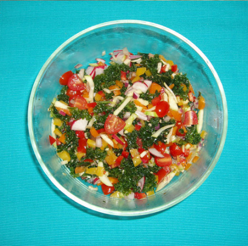 Organic Massaged Kale Salad with veggies - I made this for my hubby.