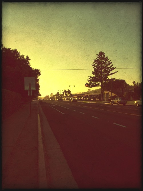 Vintage sunset on the Mesa in Santa Barbara.