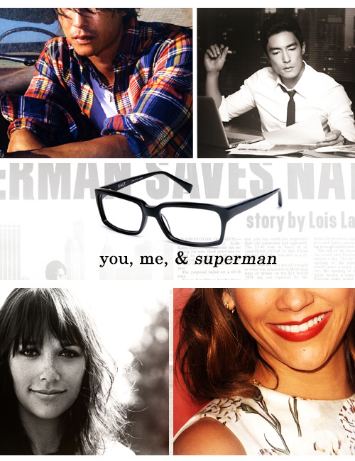 [Image description: A fake movie poster for a movie titled You, Me & Superman starring Daniel Henney as Clark Kent and Rashida Jones as Lois Lane.]  Clark Kent has only lived in Metropolis for two months, but he's already dodged three dozen bullets, made enemies with the most powerful man in town, and been scooped by The Daily Planet's star reporter.  But even more bizarre than the cake robberies and aliens, is a love triangle between his partner, himself, and, well, himself.