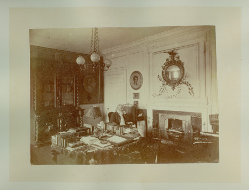 Henry Wadsworth Longfellow in his study in Cambridge, Mass in about 1870.