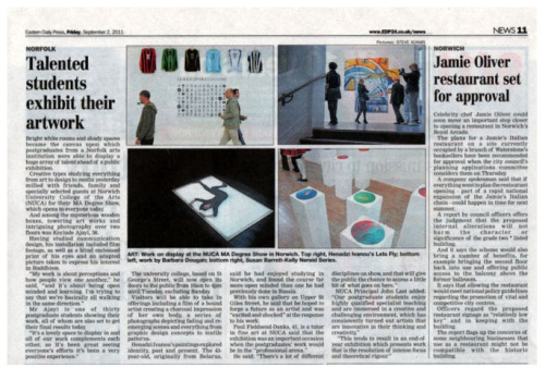 newspaper clip in the local paper of the ma degree show at nuca
