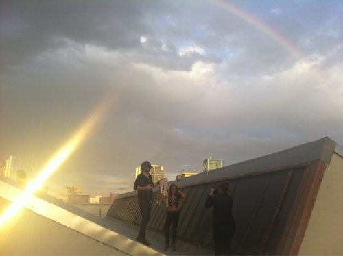 Rainbow during the photo shoot, on top of Hollywood rooftop… perfect
