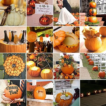 superawesomewedding:  Pum-pum-pumpkins!  I WANT A FALL WEDDING. With pumpkins every where.