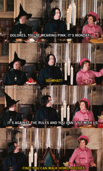 missy2410:  via alanrickmandaily mean girls and harry potter are just win  Perfect