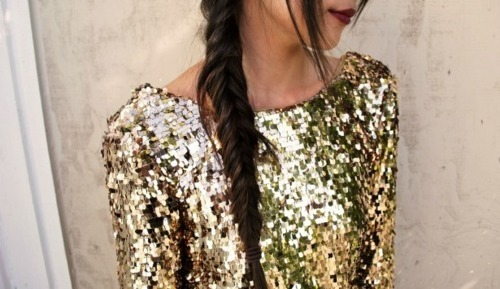 two of my favorite things: fishtail braid and sparkles  i'm such a girl.