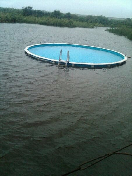 A pool inside of lake….