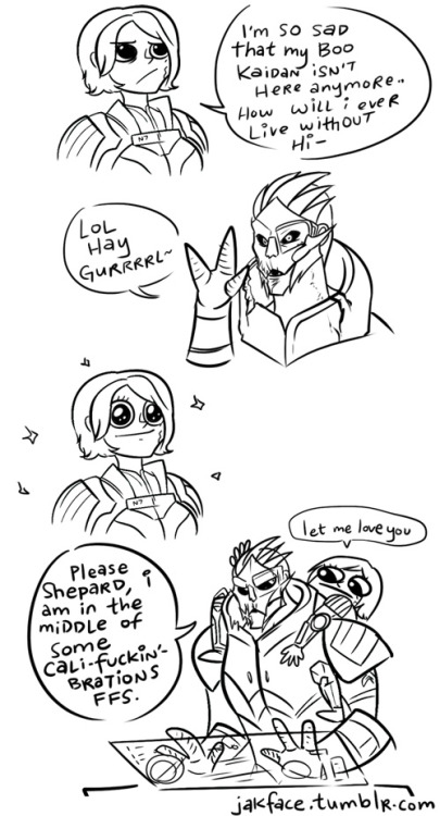 "vanessacsketch:  jakface:  Silly comic time! ""Mass Effect 2 - Well I Guess I Met That Turian.""  This is a completely accurate depiction of one of my FemSheps in ME2. Also my reaction.  lol, I never played ME so don't really know Kaidan too well, but this is cute and funny anyways. XD"