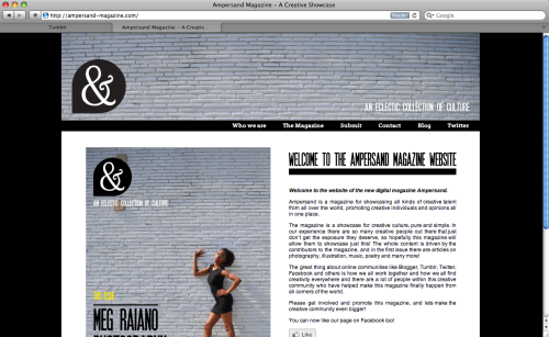 So, Ampersand Magazine website has gone live!!! Click through the picture to see the site! Let us know what you think!
