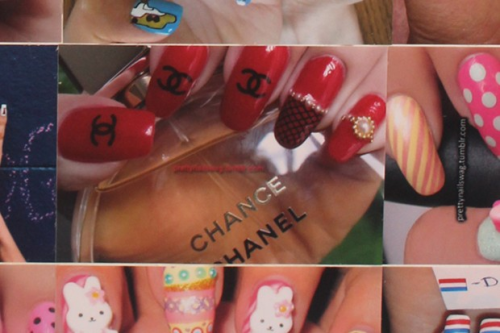 prettynailswag:  My Chanel Nails featured at Nailphilia on the amateur nail artist wall collage!!! My Easter Bunny Nails are underneath too and my Candy Nails are on the right…I know it's not much but holy fuck I'm freaking out here!!! Wish I could go to London right fucking now  I freaking love the interweb! This ish right heereee keeps me going :)
