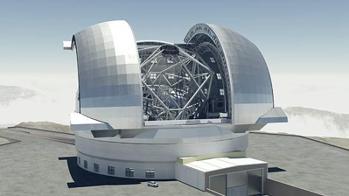 ESO plans new telescope able to see Earth-size planets The E-ELT (European Extremely Large Telescope, depicted above) would be the biggest telescope on Earth and would have a 131 feet (40 meters) mirror. It would be the only equipment able to see planets as big as Earth orbiting near stars, says Dutch astronomer and ESO director, Tim de Zeeuw. It would cost €1 billion and all 14 member countries of ESO would finance it. Meeting of all members is scheduled to this year, the E-ELT construction is expected to be aproved by voting. If aproved, construction should begin in December and last for 10 years. Current biggest telescopes are 8 to 10 meters wide (26 ft to 32ft), so the E-ELT would be a major improvement on land telescopes. Source.