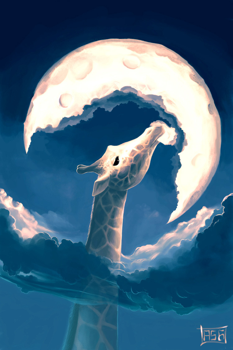 The fable of the moon and the giraffe:Does anyone wonder why the moon has a crescent form?The giraffe can't sleep because the moonlight keeps her awake!Every month, she starts eating the moon.She can't make short work of it, otherwise she might choke…So, she nibbles pieces, drinking from the clouds sometimes.After 14 days, the sky is entirely black. So, the giraffe takes a nap. Does anyone know why the moon comes back?Neither the giraffe nor I know why (written and copyrigted by aquasixio ) 2004 Time: 38 hoursSoftware: Photoshop 7Tool : Mouse