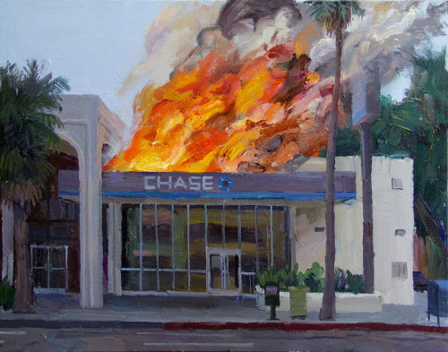 wreckandsalvage:  (via Chase Burning | eBay) Burning bank painting has 54 bids, and a price of $10,100 on eBay right now.  This painting has already gotten a bunch of media coverage and earned much notoriety for the artist. Alex Schaefer really captured the mood of the culture with a single painting.