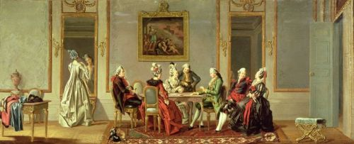 Pehr Hilleström. Gustavian Style Interior with Cardplayers. ca. 1779. Oil on canvas. Nationalmuseum. Stockholm, Sweden.