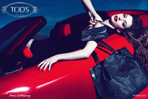 fashiongonerogue:  (via Anne Hathaway for Tod's Fall 2011 Signature Handbags Campaign by Mert & Marcus)