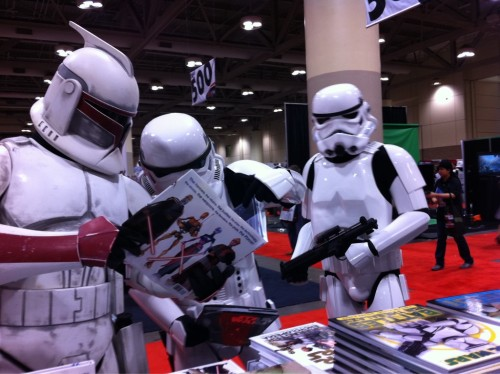 Stormtroopers reading at my booth!