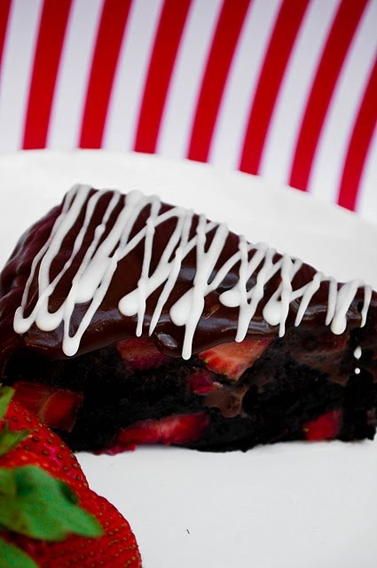 bakeddd:  vegan chocolate fudge truffle cake with strawberries click here for recipe
