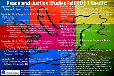 Peace and Justice Studies has a GREAT event schedule planned for the fall. Click on this image for more details!