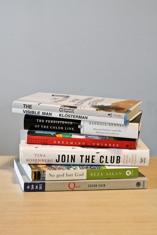 We love getting new books from our speakers. Here are a bunch we've been sent in the last few weeks: Chuck Klosterman's The Visible Man, Randall Kennedy's The Persistence of the Color Line, Dreaming in Chinese by Deborah Fallows, Tina Rosenberg's Join the Club, No god but God, from Reza Aslan, and Susan Cain's Quiet.
