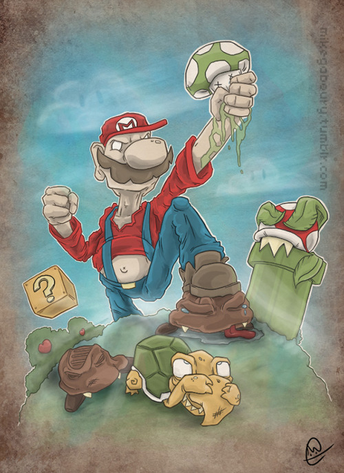 mikegaboury:  Rise to Power - Mario Tried a few new things this time: -tried using mostly straight lines for a different feel than usual roundedness -used only 1 line weight throughout -watercolor style background -used marquee selections for coloring instead of tablet (used tablet for background and final touches though)