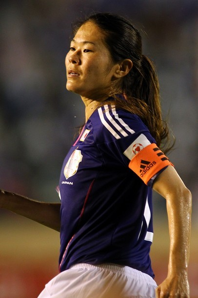 Homare Sawa of Japan looks on during the Women's Olympic Soccer Asian Qualifier Send Off match between Japan and Nadeshiko League XI at the National Stadium on August 19, 2011 in Tokyo, Japan. (via Photo from Getty Images)