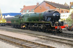 Image: SR WC Class No.34046 Braunton at Minehead. Steamy Talks No.16: Caught Smoke Deflectorless! Braunton: Eeeek!!! Do you have to take a picture of me now, while I'm smoke deflectorless! How embarrassing… I'll be the laughing stock of the Bulleids… Please don't show Wadebridge this…