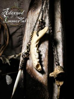 skunk jaw, porcupine quill and raccoon vertebra earring