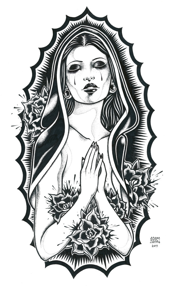 """Our Lady of Guadalupe"" pen and ink on 11 x 17 cardstock"