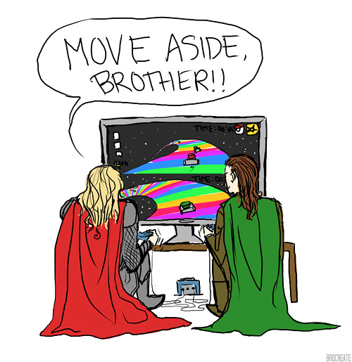 brocreate:  Loki and Thor solve their differences as all men should: Mario Kart.